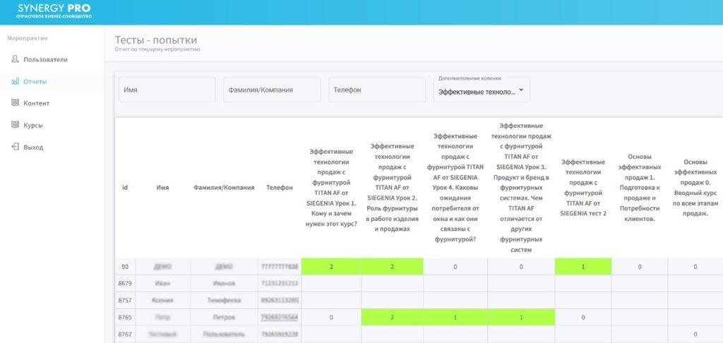 Пример экрана обучающей платформы SIEGENIA